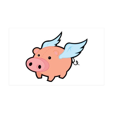 Flying Pig 35x21 Wall Decal