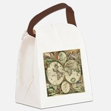 Vintage Map Canvas Lunch Bag