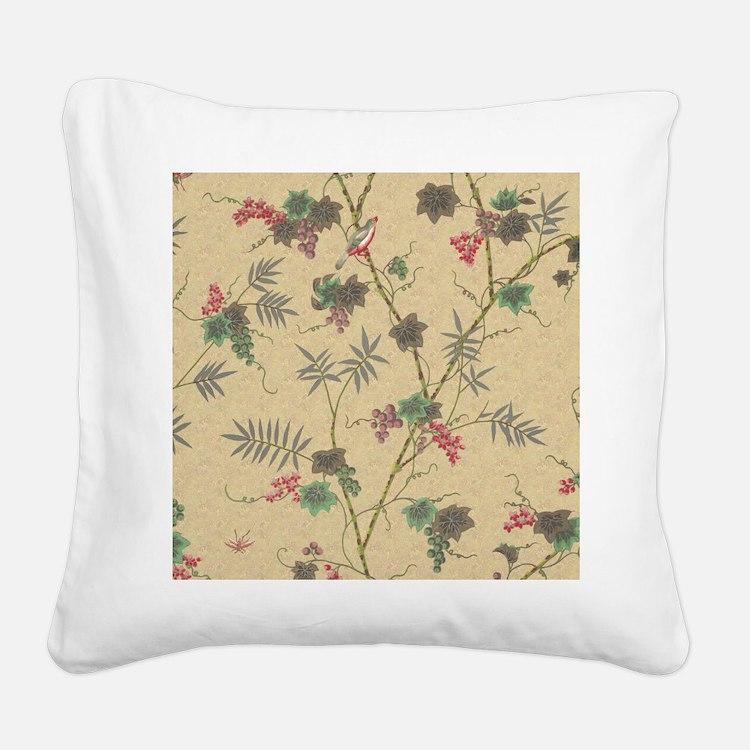 Vintage Bird Square Canvas Pillow