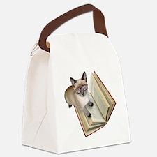 Kitten Book Canvas Lunch Bag