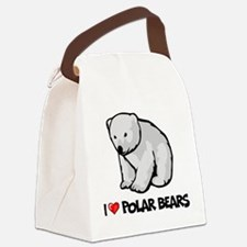 I Love Polar Bears Canvas Lunch Bag