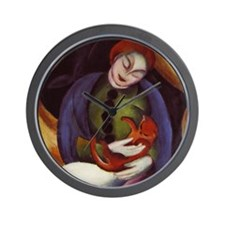 Franz Marc Girl With Cat Wall Clock