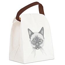 Siamese Cat Illustration Canvas Lunch Bag