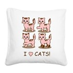 I Love Cats Square Canvas Pillow