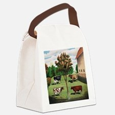 Vintage Cow Art Canvas Lunch Bag
