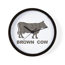 Vintage Brown Cow Wall Clock