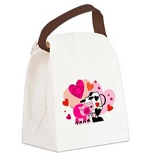 Cow & Pig In Love Canvas Lunch Bag