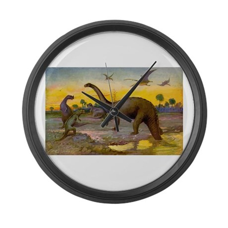 Dinosaur Art Large Wall Clock
