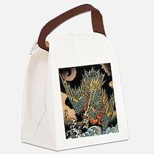 Vintage Hokusai Dragon Canvas Lunch Bag