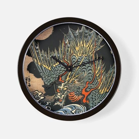 Vintage Hokusai Dragon Wall Clock