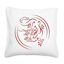 Red Chinese Dragon Square Canvas Pillow
