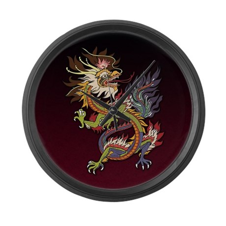 Colorful Chinese Dragon Large Wall Clock