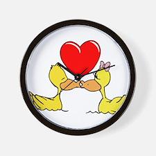Ducks In Love Wall Clock