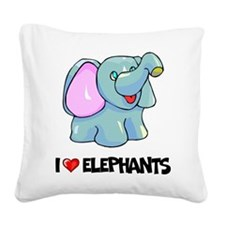 I Love Elephants Square Canvas Pillow