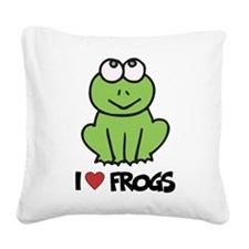 I Love Frogs Square Canvas Pillow