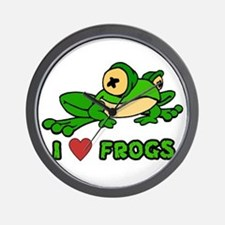 I Love Frogs Wall Clock