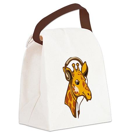 Headphone Giraffe Canvas Lunch Bag