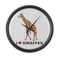 I Love Giraffes Large Wall Clock