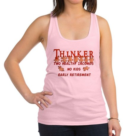 2-childfree_thinks01.png Racerback Tank Top