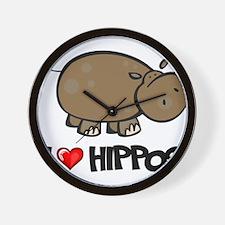 I Love Hippo Wall Clock
