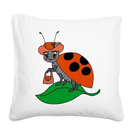 Ladybug Square Canvas Pillow