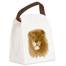 Realistic Lion Canvas Lunch Bag