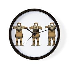 See No Evil Monkey Wall Clock