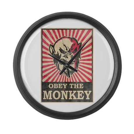 Obey The Monkey Large Wall Clock