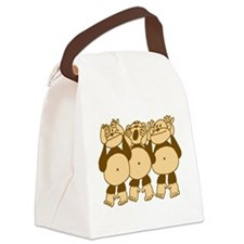 See No Evil Monkeys Canvas Lunch Bag