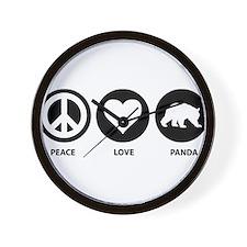 Peace Love Panda Wall Clock