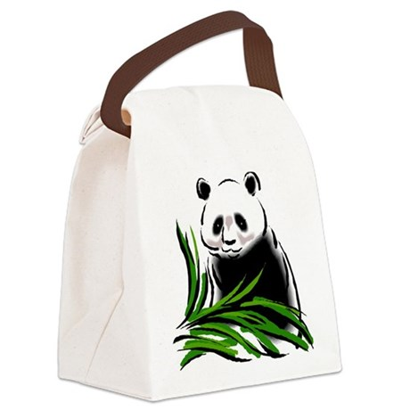 Hand Painted Panda Canvas Lunch Bag