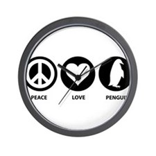 Peace Love Penguin Wall Clock