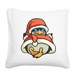 Christmas Penguin Square Canvas Pillow
