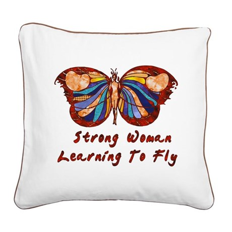 Strong Woman Learning To Fly Square Canvas Pillow
