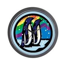 Rainbow Penguin Wall Clock