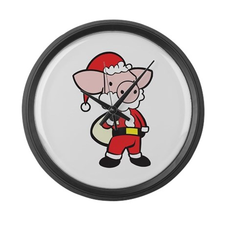 Santa Pig Large Wall Clock