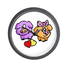 Pigs In Love Wall Clock