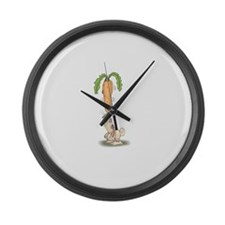 Funny Rabbit With Carrot Large Wall Clock