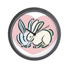 Rabbits In Love Wall Clock