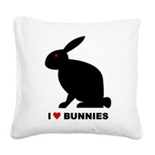 I Love Bunnies Square Canvas Pillow