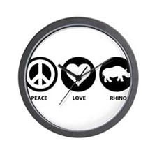 Peace Love Rhino Wall Clock
