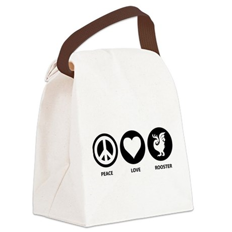 Peace Love Rooster Canvas Lunch Bag