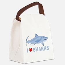 I Love Sharks Canvas Lunch Bag