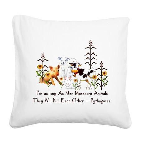 Pythagoras Vegetarian Quote Square Canvas Pillow