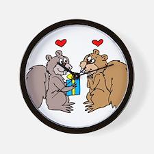 Squirrels In Love Wall Clock