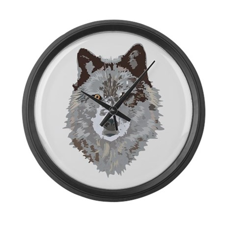 Wolf Illustration Large Wall Clock