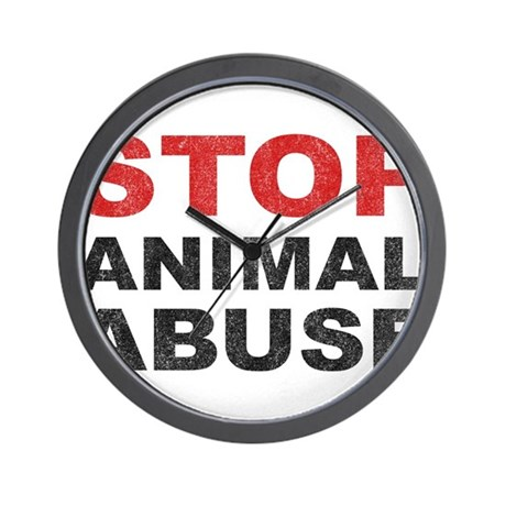 Stop Animal Abuse Wall Clock