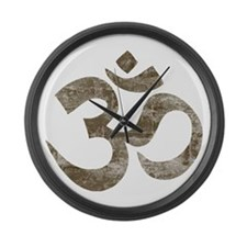 Vintage Om Symbol Large Wall Clock