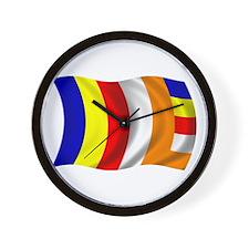 Wavy Buddhist Flag Wall Clock