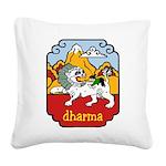 Snow Lion + Dharma Square Canvas Pillow